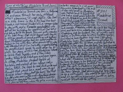 Madeleine Brand life story on postcard